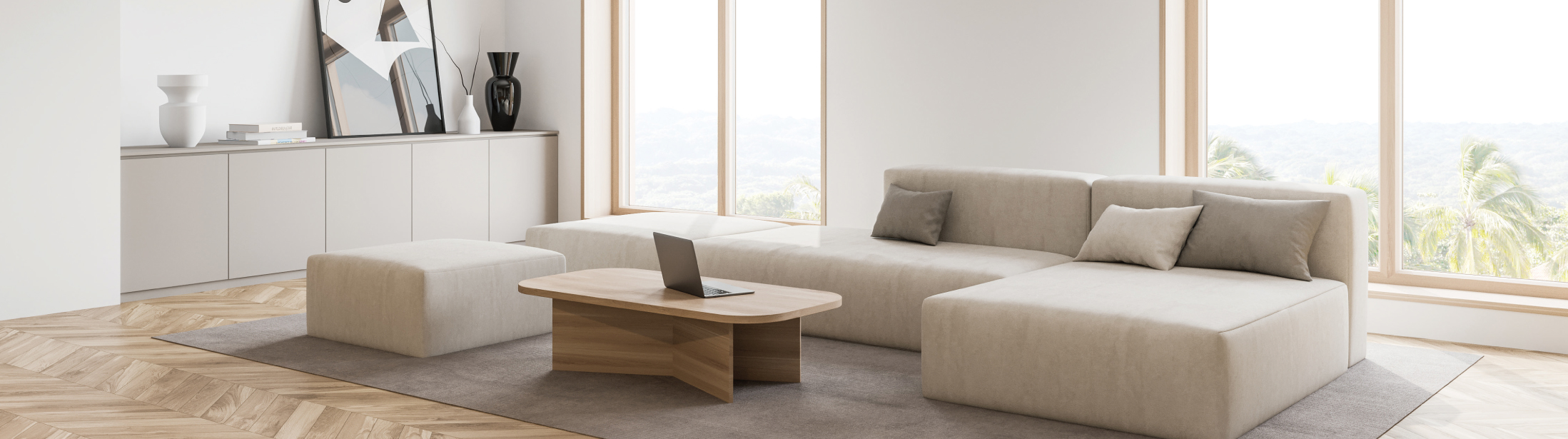 Corner of modern living room with white walls, wooden floor, white sofa and coffee table with laptop. 3d rendering